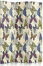 Feeby Frames. Textilwandschirme, dekorative Trennwand, Paravent einseitig, 3 teilig (110x150 cm), ZEICHNUNG, BLAU MODERN, STOFF, SCHMETTERLINGE, BLUMEN, BOHO, GELB,