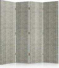 Feeby Frames. Textilwandschirme, dekorative Trennwand, Paravent beidseitig, 4 teilig (145x150 cm), MODERN, SKANDINAVISCHE, STOFF, ZEICHNUNG, GEFLOCHTENE, NACHAHMUNG, STRICKEN, BEIGE, GRAU