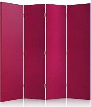 Feeby Frames. Textilwandschirme, dekorative Trennwand, Paravent einseitig, 4 teilig (145x180 cm), KUNSTLEDER, MODERN, ROSA