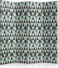 Feeby Frames. Textilwandschirme, dekorative Trennwand, Paravent beidseitig, 4 teilig (145x180 cm), MODERN, STOFF, SKANDINAVISCH, GEOMETRIE, DREIECKE, DESIGN, GRAU, MINT, BEIGE