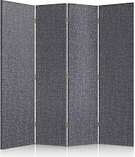 Feeby Frames. Textilwandschirme, dekorative Trennwand, Paravent beidseitig, 4 teilig (145x150 cm), GRAU, STOFF, GLAMOURÖSE, MODERN