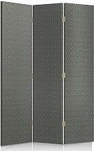Feeby Frames. Textilwandschirme, dekorative Trennwand, Paravent beidseitig, 3 teilig (110x150 cm), GRAU, GRAFIT, MODERN, FÜR SCHLAFZIMMER, GEOMETRISCHE MUSTER