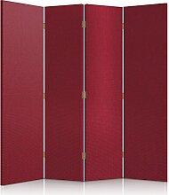 Feeby Frames. Textilwandschirme, dekorative Trennwand, Paravent beidseitig, 4 teilig (145x150 cm), ROT, STOFF, GLAMOURÖSE, MODERN