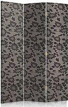 Feeby Frames. Textilwandschirme, dekorative Trennwand, Paravent beidseitig, 3 teilig (110x180 cm), GLAMOUR, MUSTER, BLUMEN, SCHWARZ, GRAFIT, FÜR SCHLAFZIMMER