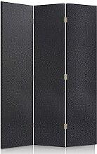 Feeby Frames. Textilwandschirme, dekorative Trennwand, Paravent einseitig, 3 teilig (110x150 cm), KUNSTLEDER, MODERN, GRAPHIT
