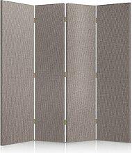Feeby Frames. Textilwandschirme, dekorative Trennwand, Paravent beidseitig, 4 teilig (145x180 cm), LEICHTEN GRAU, STOFF, GLAMOURÖSE, MODERN