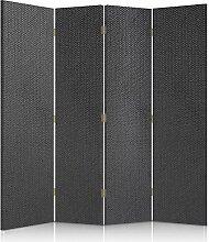 Feeby Frames. Textilwandschirme, dekorative Trennwand, Paravent beidseitig, 4 teilig (145x180 cm), STOFF, SCHWARZ, GLAMOURÖSE
