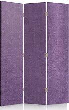 Feeby Frames. Textilwandschirme, dekorative Trennwand, Paravent beidseitig, 3 teilig (110x180 cm), GLAMOURÖSE, MODERN, LILA, VELOURSLEDERIMITAT