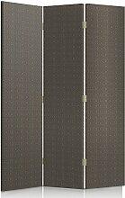 Feeby Frames. Textilwandschirme, dekorative Trennwand, Paravent einseitig, 3 teilig (110x180 cm), GEIMETRISCHERS MUSTER, KRISTALLE, BRAUN, DUNKELBRAUN