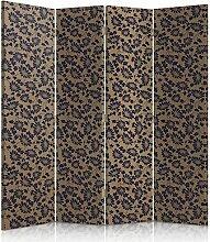 Feeby Frames. Textilwandschirme, dekorative Trennwand, Paravent einseitig, 4 teilig (145x180 cm), BEIGE, SCHWARZ, BLUMEN, GLAMOUR, MODERN, FÜR SCHLAFZIMMER, KEILKISSEN, BETTEN