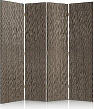Feeby Frames. Textilwandschirme, dekorative Trennwand, Paravent einseitig, 4 teilig (145x150 cm), STOFF, BEIGE, GLAMOURÖSE