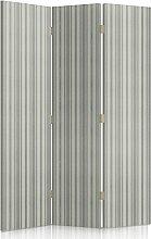 Feeby Frames. Textilwandschirme, Leinwand Wandschirme, dekorative Trennwand, Paravent beidseitig, 3 teilig, 360° (110x180 cm), FÜR WOHNZIMMER, MODERN, STREIFEN, GRAU, BEIGE, TEXTIL