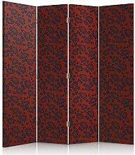 Feeby Frames. Textilwandschirme, Leinwand Wandschirme, dekorative Trennwand, Paravent beidseitig, 4 teilig, 360° (145x150 cm), GLAMOUR, MODERN, MUSTER, BLUMEN, SCHWARZ, ROT, FÜR SCHLAFZIMMER
