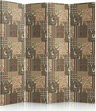 Feeby Frames. Textilwandschirme, Leinwand Wandschirme, dekorative Trennwand, Paravent beidseitig, 4 teilig, 360° (145x180 cm), ZEICHNUNG, PATRCHWORK, STOFF, RUSTIKAL, VINTAGE, RETRO, QUADRAT, BLUME, BRAUN, BEIGE, LILA