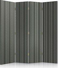 Feeby Frames. Textilwandschirme, Leinwand Wandschirme, dekorative Trennwand, Paravent beidseitig, 4 teilig, 360° (145x180 cm), FÜR WOHNZIMMER, MODERN, STREIFEN, GRAU, GRAFIT, TEXTIL