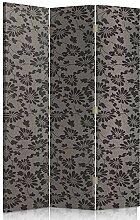 Feeby Frames. Textilwandschirme, Leinwand Wandschirme, dekorative Trennwand, Paravent beidseitig, 3 teilig, 360° (110x180 cm), GLAMOUR, MUSTER, BLUMEN, SCHWARZ, GRAFIT, FÜR SCHLAFZIMMER
