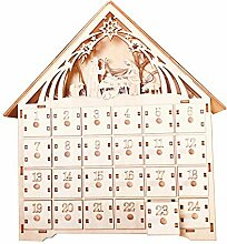 feeilty Pre-Lit Holzhaus Advent Countdown-Kalender