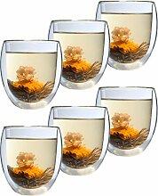 Feelino Aktion: 6er-Set XXL 400ml Thermo-Glas mit
