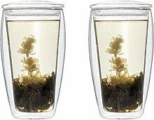 Feelino TEESET: 2X 400ml XL doppelwandiges Teeglas