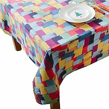 "Feicuan Tischdecken Table Covers Cotton Linen Essen Room Garten Colorful Lattice 140x140cm(55""x55"")"