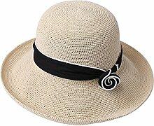 FEIFEI Visier Strohhut zusammenklappbar Portable Beige rot Khaki Otsuka Sun Hat Handcrafted Sonnenschutz Strand Hut UV-Schutz ( Farbe : Beige )