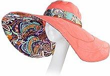 Feifei Zusammenklappbare Frauen Sommer Sonnenschutz Kappe Einstellbare Größe Hochwertiger Stoff Anti-UV Mode Süß Outdoor Kappe Urlaub Cap Strand Hut Grün Orange Lila (Farbe : Rot)
