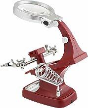 feigu Werkbank 3x 4,5x Lupe mit Alligator Clip Helping Hand Löten Halter Reparatur Lupe Werkzeug, ro