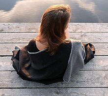Feine Doubleface Wolldecke Königssee aus 100% Merinowolle grau-schwarz 150x220cm