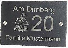 Feiner-Tropfen Hausnummer anthrazit Schiefer 30x20