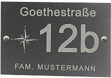 Feiner-Tropfen Hausnummer Schiefer Gravur Kompass