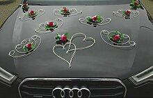 FEINHEIT Auto Schmuck Braut Paar Rose Deko Dekoration Autoschmuck Hochzeit Car Auto Wedding Deko Ratan (violett)