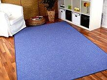Feinschlingen Velour Teppich Strong Blau in 24