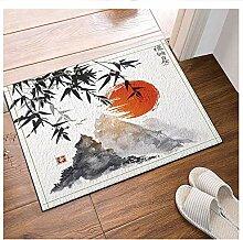 FEIYANG Bambusbaum Sonne und Weißdorn Bad Teppich