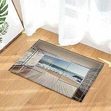 FEIYANG Ziegelmauer mit Holztür Dekor Lounge mit