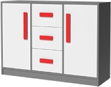 Feldmann-Wohnen Kommode GIT, Griffe in Rot