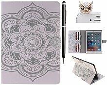 Felfy Hülle Tasche für iPad Pro 9.7,iPad Pro 9.7 Case PU Flip Ledertasche Luxe Bookstyle Hübsch Muster mit Standfunktion Magnetverschluss Ledertasche Abdeckung Schutzhülle Ablösbar Tasche Handliche Case Tasche Etui für Apple iPad Pro 9.7 (Weiße Blume) + 1 xSchwarz Stylus + 1 x Eule Dust Plug