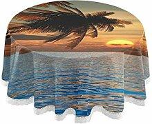 FELIZM Runde Tischdecke Meer Palme Sonnenuntergang