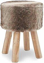 Fell Hocker Massiv Holz Sitzhocker Pouf Hocker