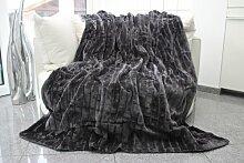 Felldecke, grau, Hochwertige Kuscheldecke, Decke, Wohndecke, Nerzdecke, Plaid, Webpelzdecke, Tagesdecke (grau)