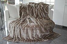 Felldecke, Hochwertige Kuscheldecke, Decke, Wohndecke, Nerzdecke, Plaid, Webpelzdecke, Tagesdecke (taupe-grau)