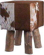 Fellhocker mit Holzfüßen - eckig - Höhe 45 cm - braun/weiß, Hocker mit Felloptik, Sitzhocker, Schemel, Hüttenzauber, Badhocker, Schemel, Sitzmöbel, Sitzplatz, Stockerl, Fußhocker, Sitz mit Berghüttenzauber mit Fell - Alpenglück - Spitzenqualität. Echtes Naturfell - 100% Naturfell