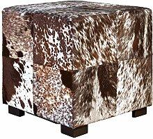 Fellhocker mit Holzfüßen - rechteckig- 45x45x45 cm - braun/weiß, Hocker mit Felloptik, Sitzhocker, Schemel, Hüttenzauber, Badhocker, Schemel, Sitzmöbel, Sitzplatz, Stockerl, Fußhocker, Sitz mit Berghüttenzauber mit Fell - Alpenglück - Spitzenqualität. Echtes Naturfell - 100% Naturfell