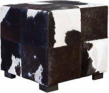 Fellhocker mit Holzfüßen - rechteckig- 45x45x45 cm - schwarz/weiß, Hocker mit Felloptik, Sitzhocker, Schemel, Hüttenzauber, Badhocker, Schemel, Sitzmöbel, Sitzplatz, Stockerl, Fußhocker, Sitz mit Berghüttenzauber mit Fell - Alpenglück - Spitzenqualität. Echtes Naturfell - 100% Naturfell