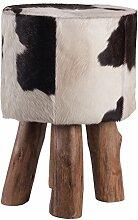 Fellhocker mit Holzfüßen - rund- Höhe 45 cm - schwarz/weiß, Hocker mit Felloptik, Sitzhocker, Schemel, Hüttenzauber, Badhocker, Schemel, Sitzmöbel, Sitzplatz, Stockerl, Fußhocker, Sitz mit Berghüttenzauber mit Fell - Alpenglück - Spitzenqualität. Echtes Naturfell - 100% Naturfell