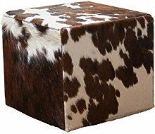 Fellhocker - rechteckig- 40x40x40 cm - braun/weiß, Hocker mit Felloptik, Sitzhocker, Schemel, Hüttenzauber, Badhocker, Schemel, Sitzmöbel, Sitzplatz, Stockerl, Fußhocker, Sitz mit Berghüttenzauber mit Fell - Alpenglück - Spitzenqualität. Echtes Naturfell - 100% Naturfell