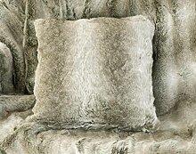 Fellkissen Grauwolf grau-beige aus Webpelz 45x45cm