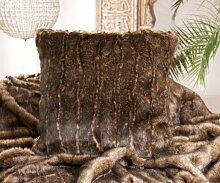 Fellkissen (Webpelzkissen) Biber braun in 45x45cm
