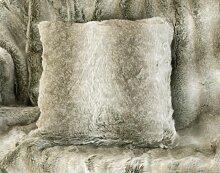 Fellkissen (Webpelzkissen) Grauwolf grau-beige in