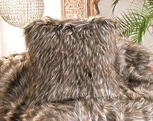 Fellkissen (Webpelzkissen) Grizzly in braunen und