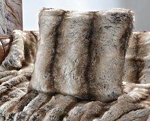 Fellkissen (Webpelzkissen) Wolf grau-braun 45x45cm